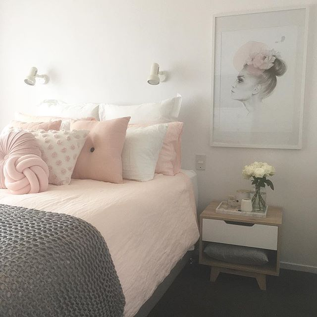 blush pink, white and grey pretty bedroom