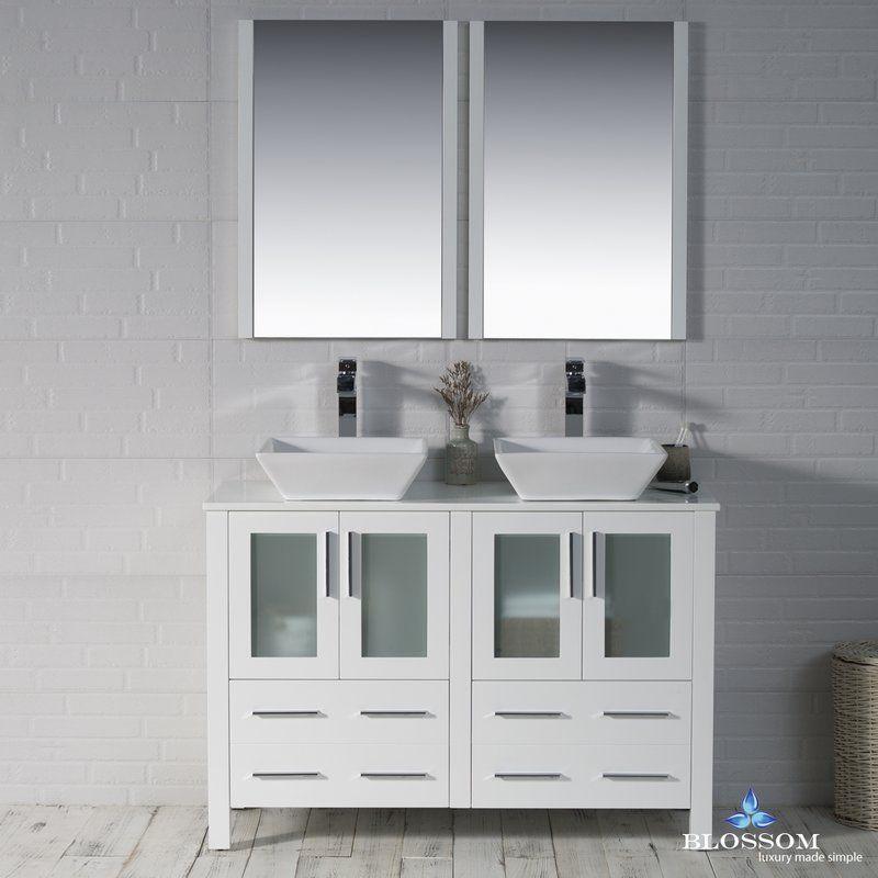 Mance 48 Double Bathroom Vanity Set With Mirror Vanity Set With Mirror Double Vanity Bathroom Bathroom Furniture Uk