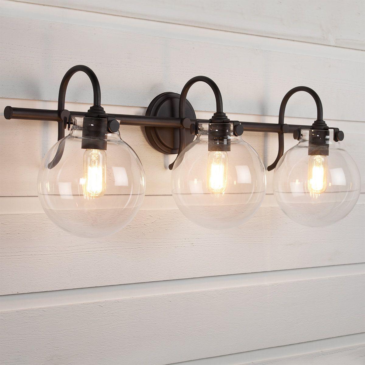 Retro Glass Globe Bath Light 3 Light Bath Light Bathroom Light Fixtures Glass Globe
