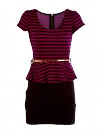 Striped Peplum Belted Career Dress  $39.80