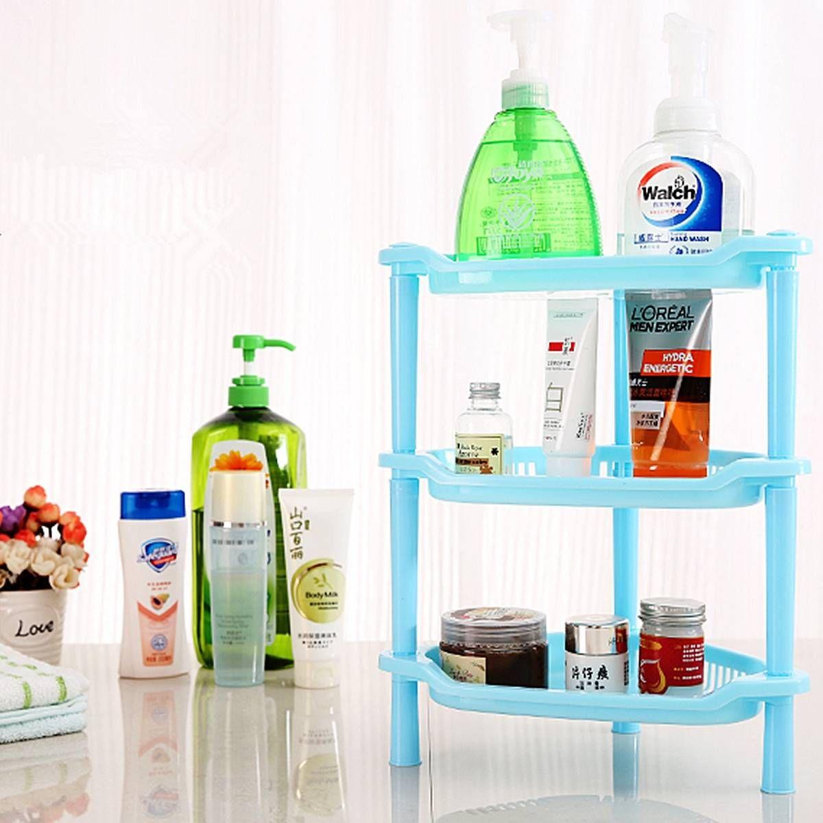 Three Layers Plastic Corner Shelf Bathroom Organizer Cabinet Sundries Rack