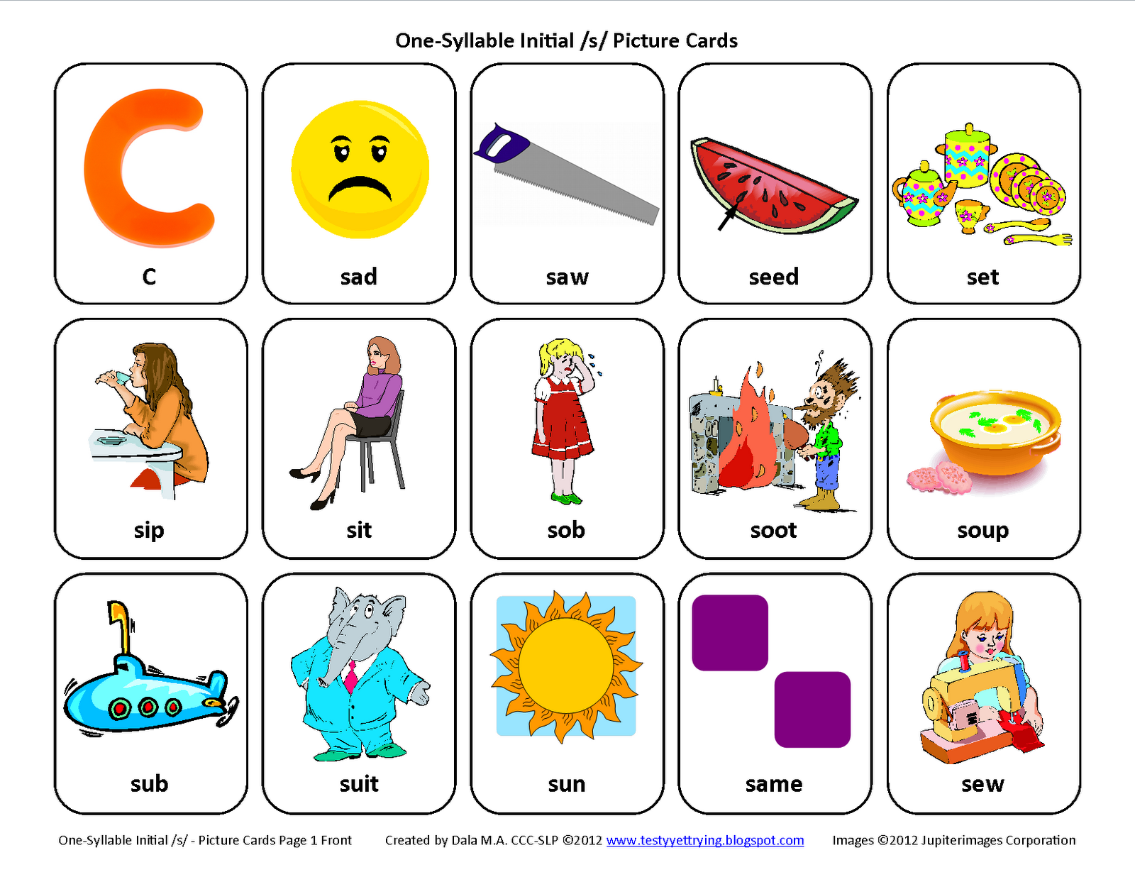 Testy Yet Trying Initial S Free Speech Therapy Articulation Picture Cards