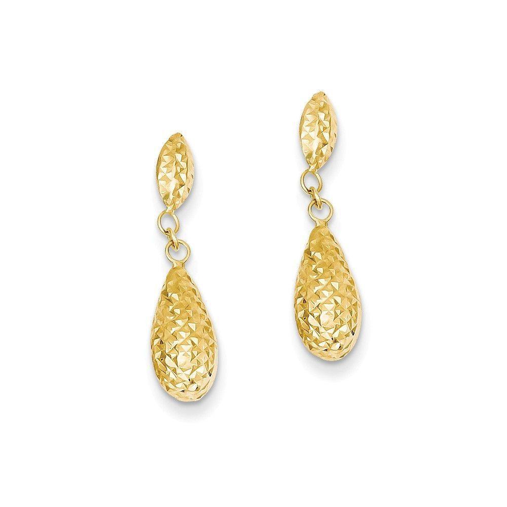 14k Diamond-cut Puff Teardrop Dangle Earrings