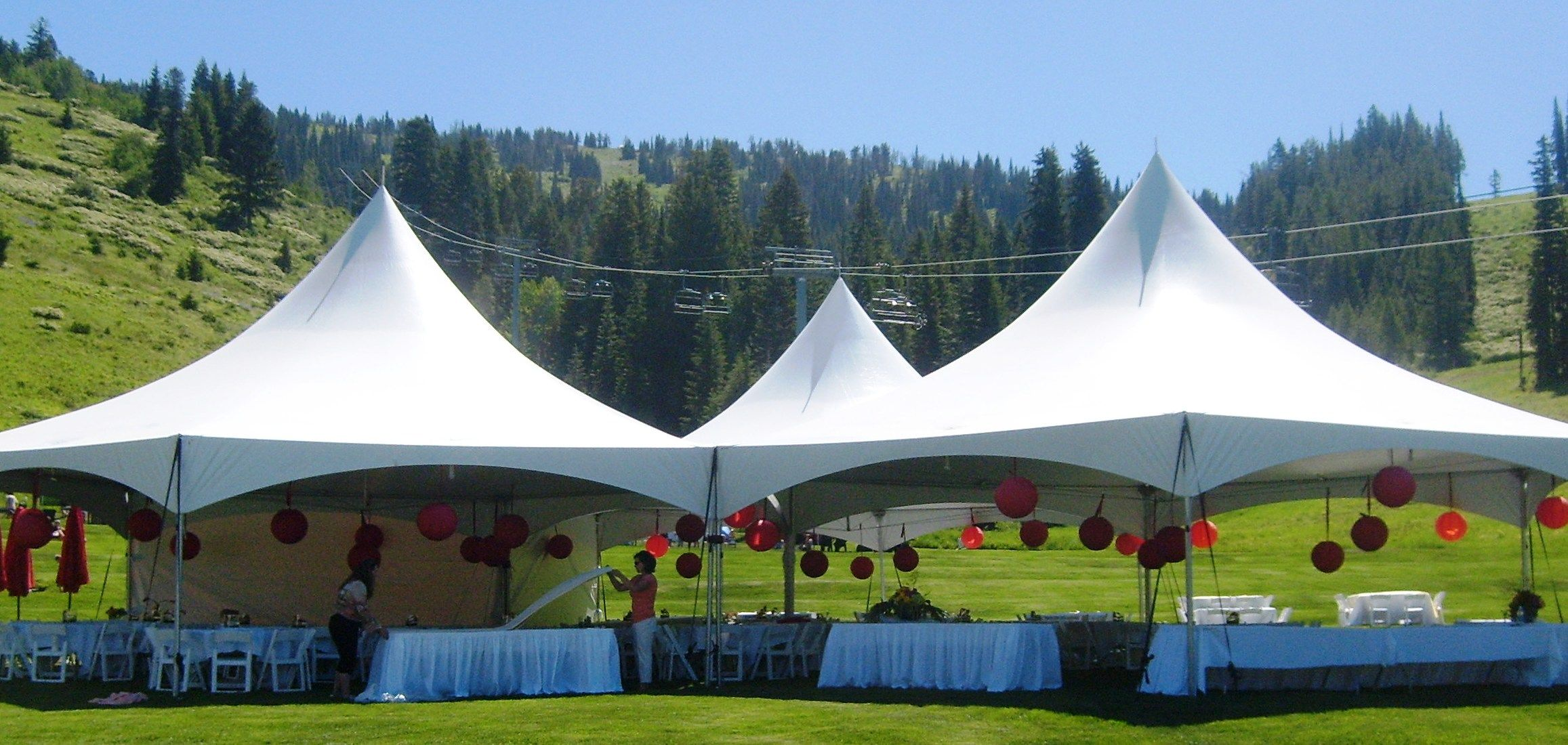 3 Hexagon Canopies for a group of 250 Tent reception
