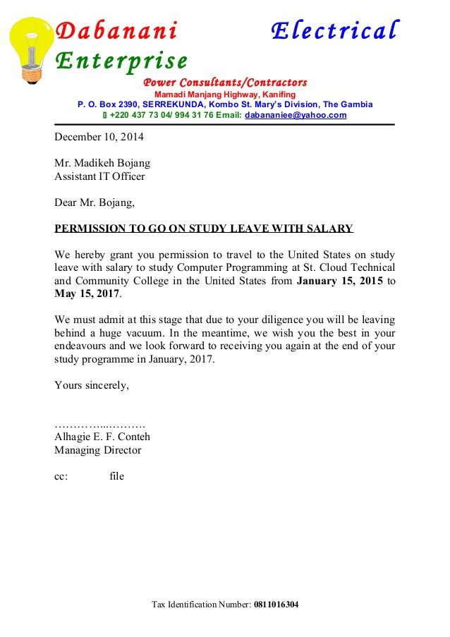 dabanani electrical enterprise power consultants contractors - letter of appointment