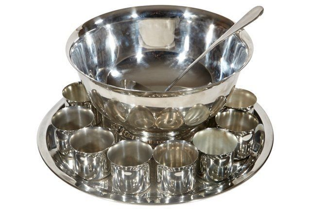 Silver-Plate Punch Bowl Set, 15 Pcs