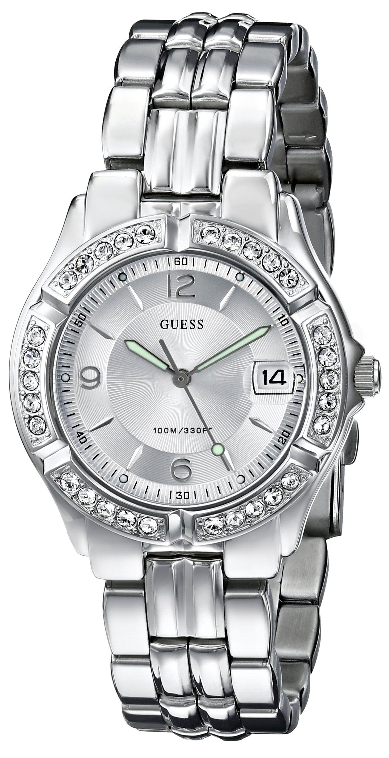 a4d5ae21c774 Amazon.com  GUESS Women s G75511M Mid-Size Sporty Chic Silver-Tone Watch   Guess  Watches