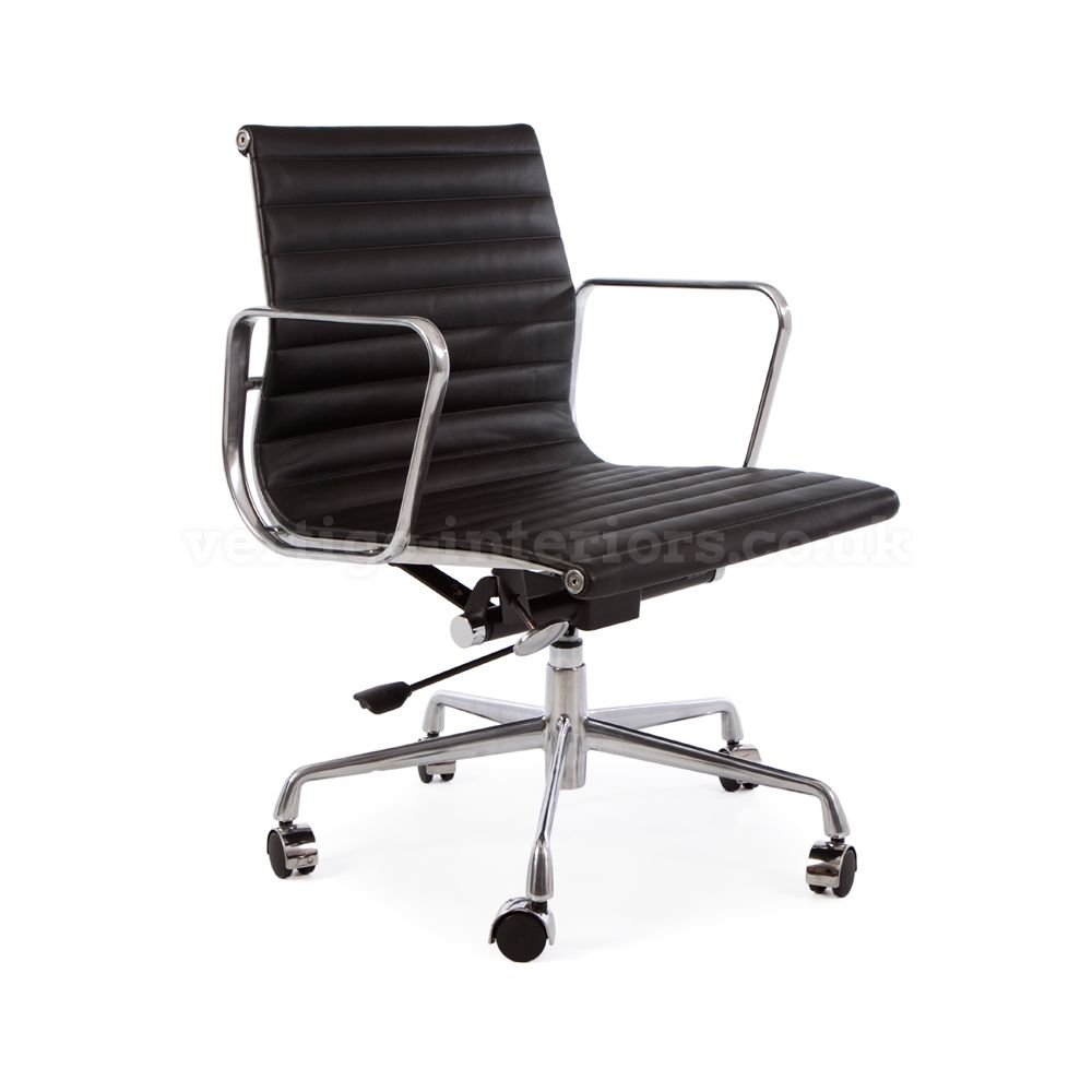 Eames Style Ribbed Chair Black Leather Castor Base