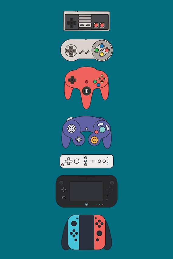 Nintendo Generations Videogame Controllers Art Print Games Room Retro Minimalist Game Console Switch