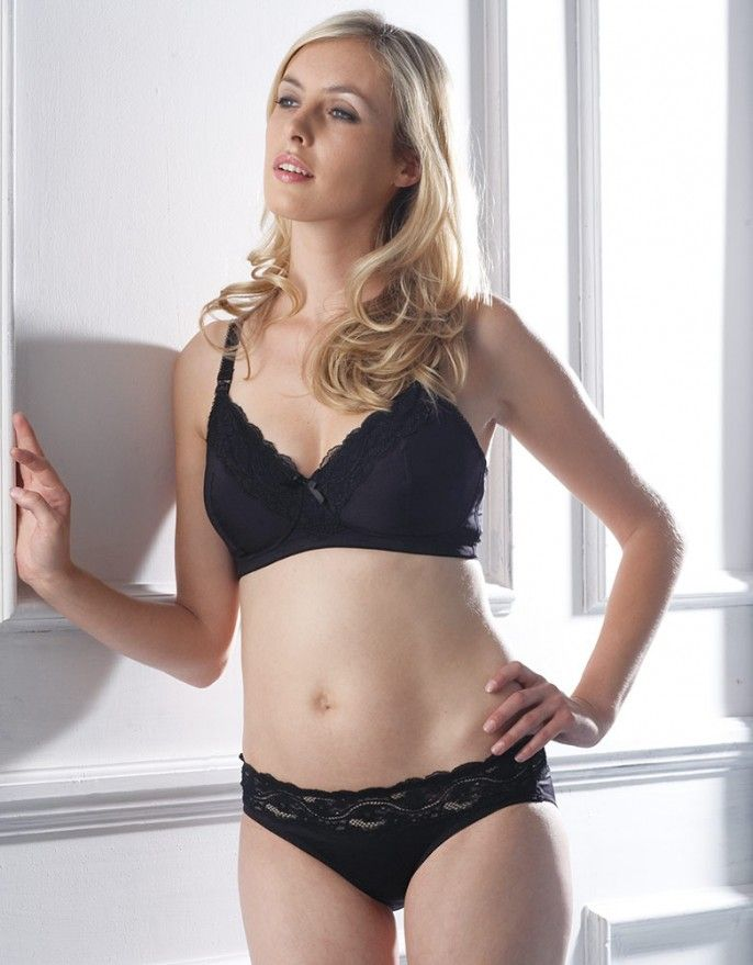 e195a7eee9654 Comfortable Black Seraphine Lace Trim Nursing Bra | Shamu wear ...