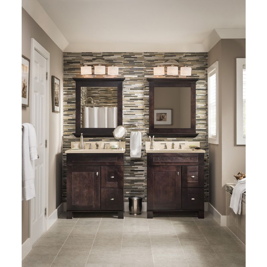Shop Allen  Roth 3Light Merington Brushed Nickel Standard Prepossessing Lowes Bathroom Remodel Ideas Design Inspiration