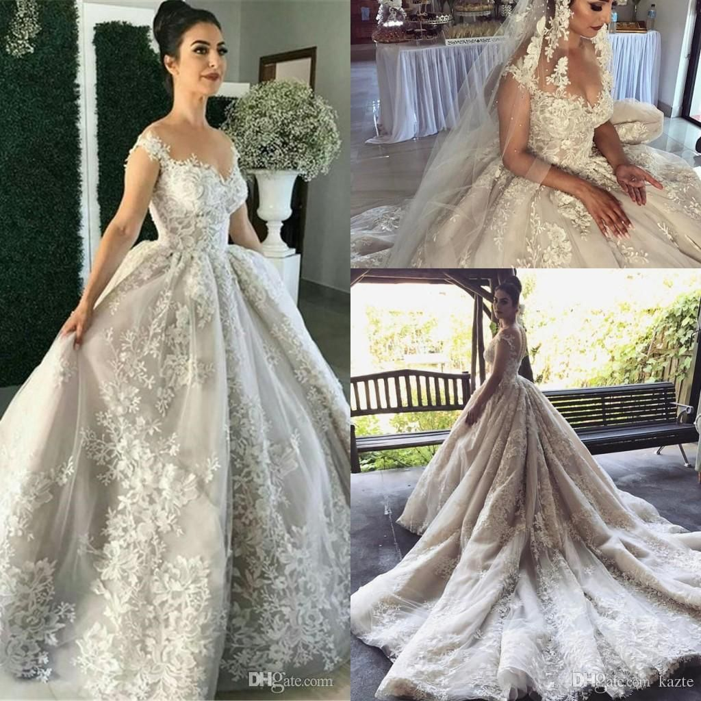 ... Lace Ball Gown Wedding Dresses with Detachable Train 2017 Modest Sheer  Neck Cap Sleeve Middle East Dubai Arabic Bridal Dress Mermaid Wedding Dress  Long ... cff1e8e1bed8