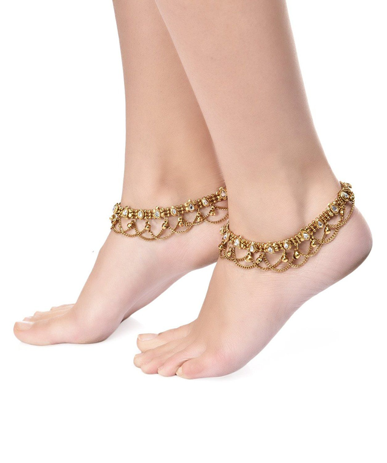 women indian online anklet rhinestone elegant for anklets oblacoder silver pink india studded