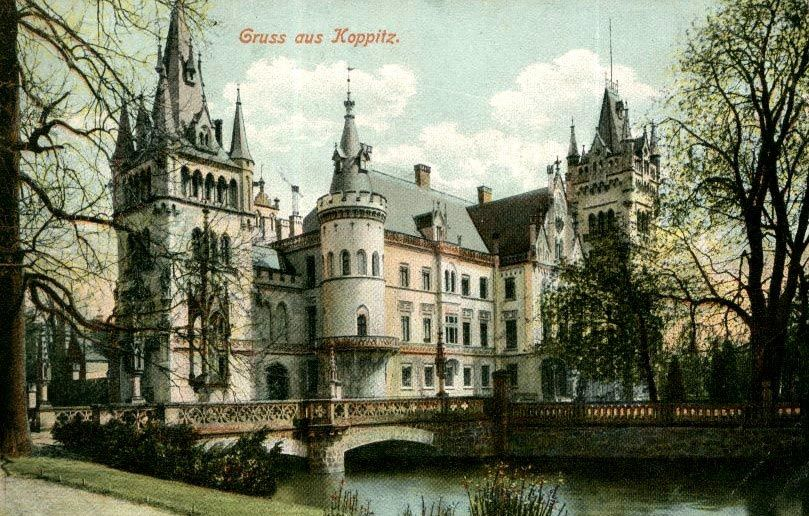 Poland, Kopice, Palace of Kopicach (woj.opolskie) - the 'Palace on the Water' as it once looked.