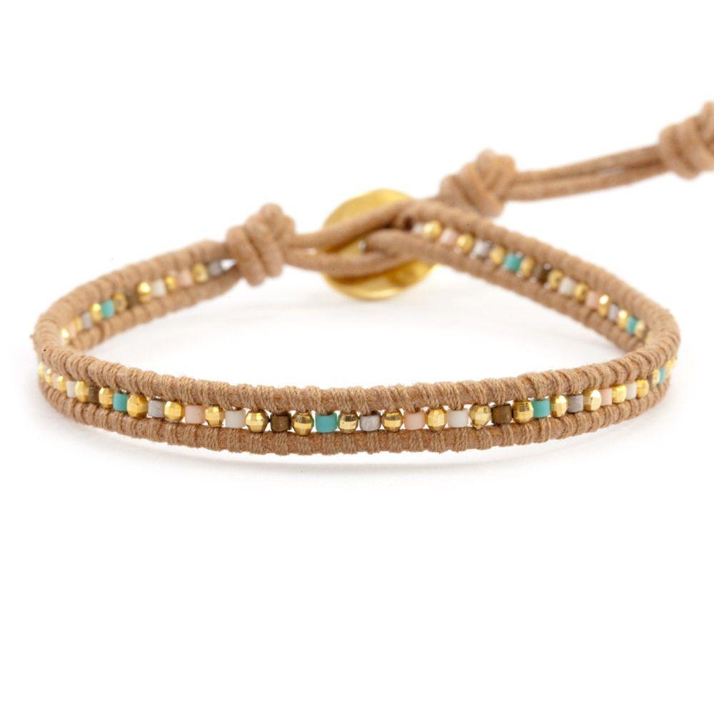 Salmon Mix Single Wrap Bracelet on Beige Leather - Chan Luu