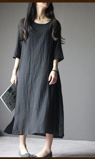 Black Linen Maternity Dress Plus Size Linen Summer Maxi Dresses