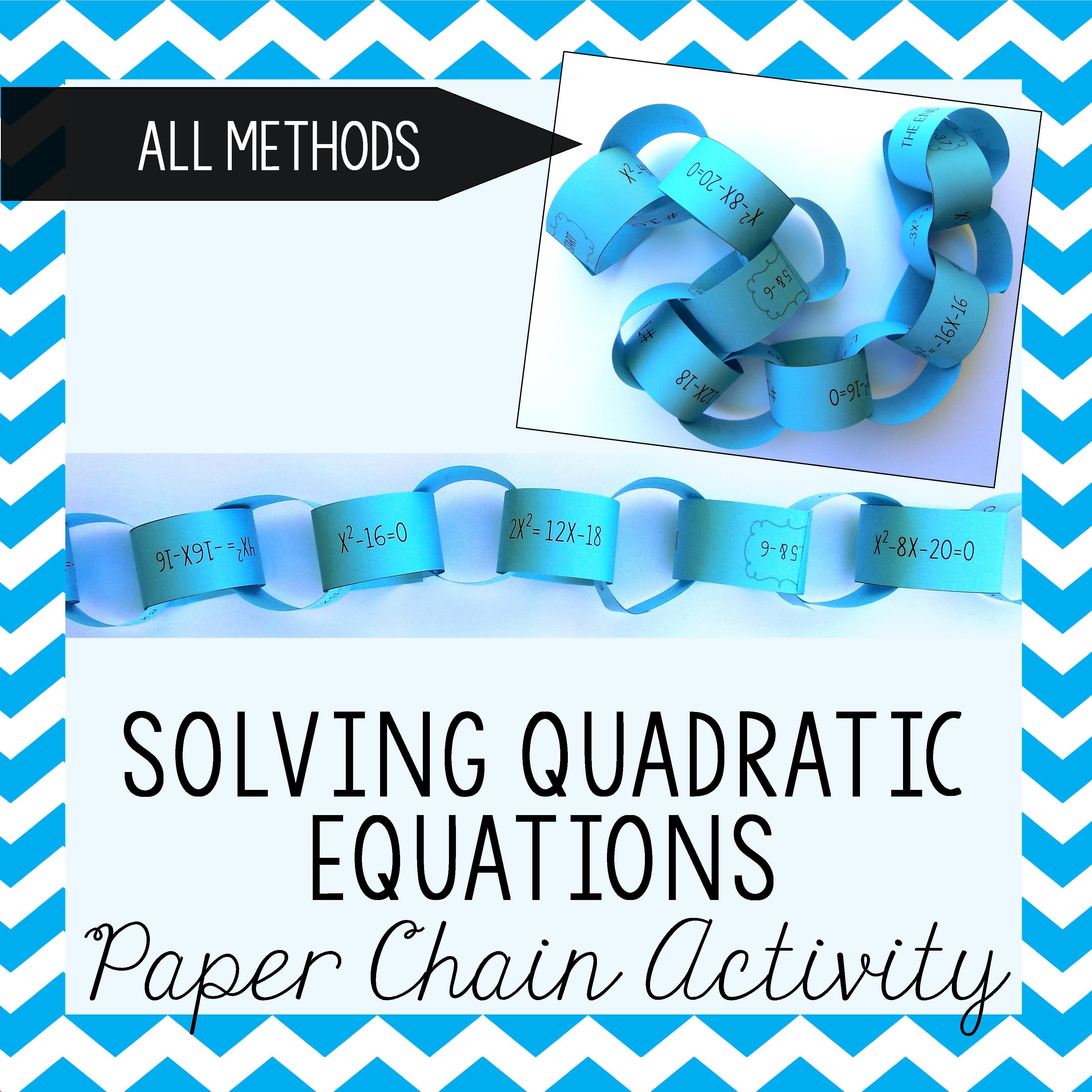 Solving Quadratic Equations Paper Chain Activity – Solving Quadratics by Graphing Worksheet