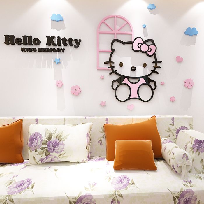 for hello kitty 3d acrylic kt cat crystal three-dimensional wall
