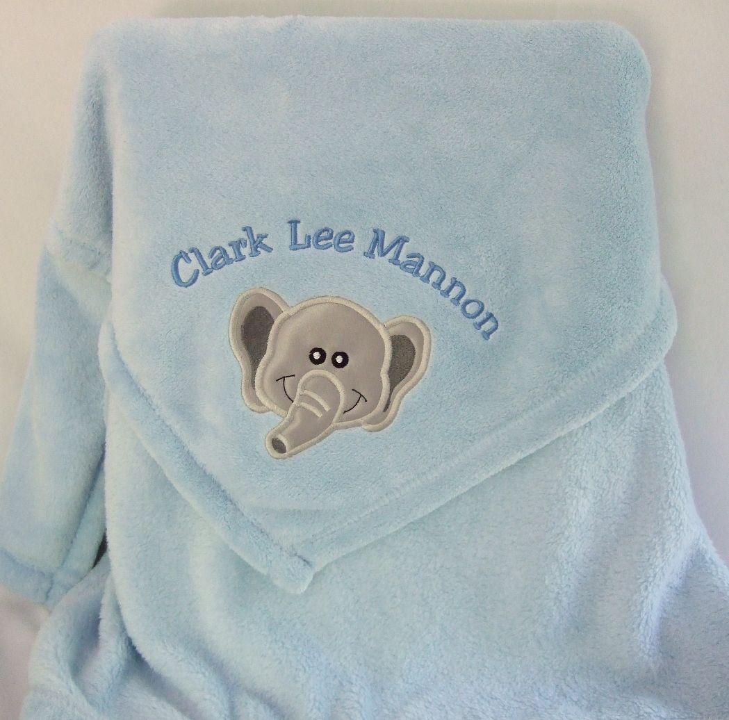 Personalized blue baby blanket embroidered with applique elephant, baby's  name and birth date. $34.99