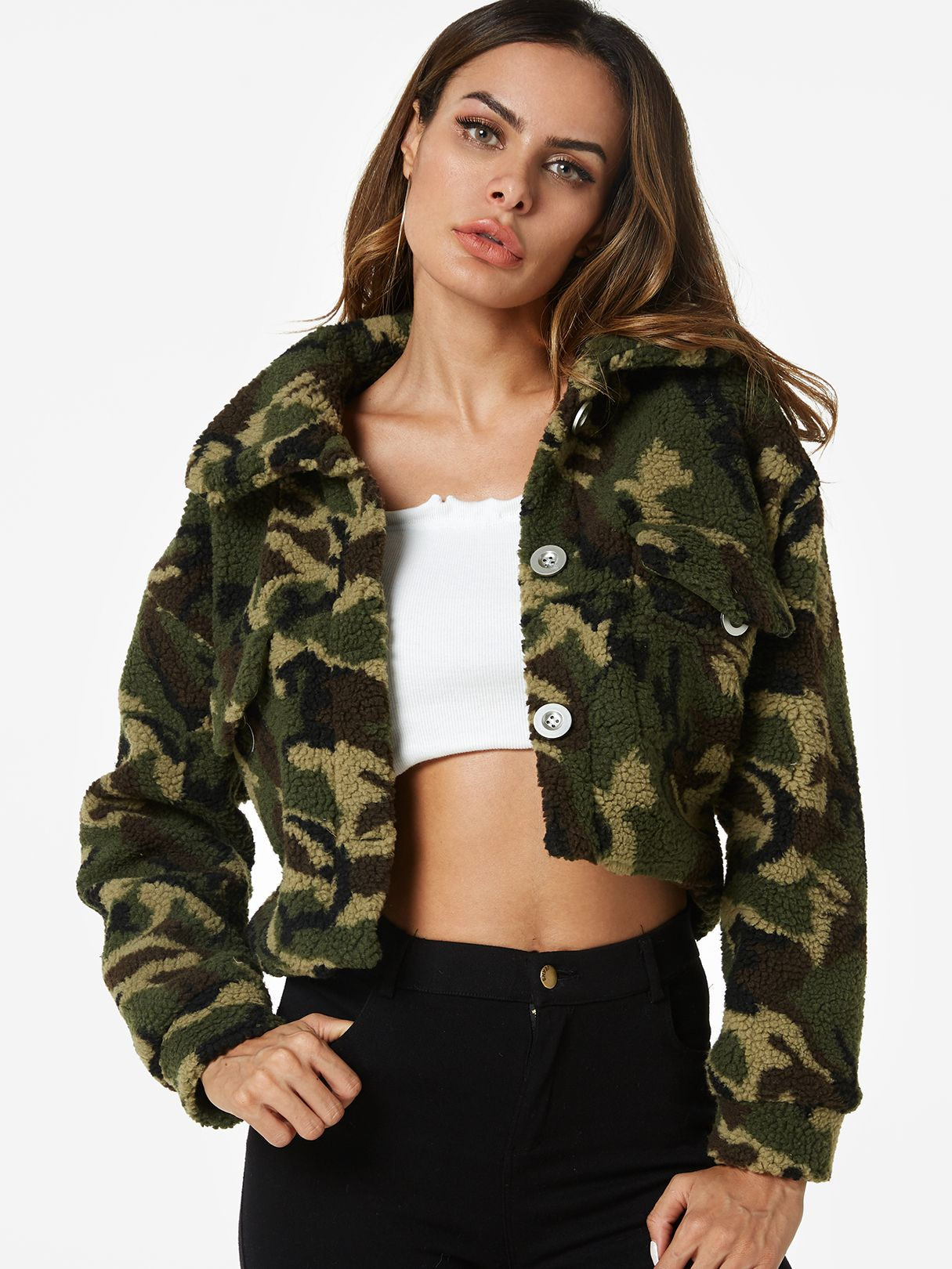 84576d24b Camo Pocket Design Camouflage Classic Collar Long Sleeves Jackets ...