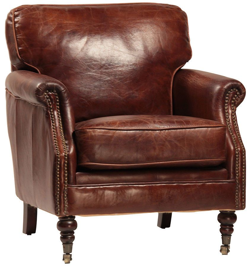 Vintage Cigar Top Grade Tufted Leather Club Chair Nail Head Accent 30 X 31 Unbranded Tufted Leather Chair Club Chairs Leather Chair Leather nail head chair