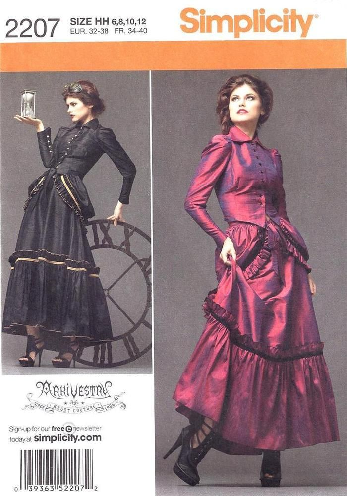 Simplicity Steampunk Victorian Costume Pattern sz. 6-12 in 2018 ...