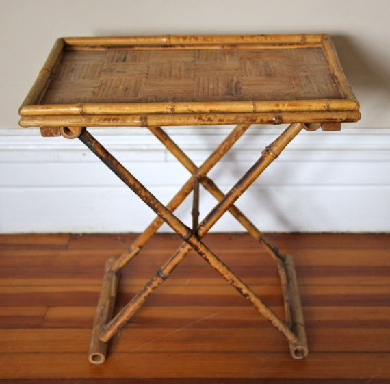 Lovely Vintage Bamboo Folding Tray Table By RareandWorthy On Etsy
