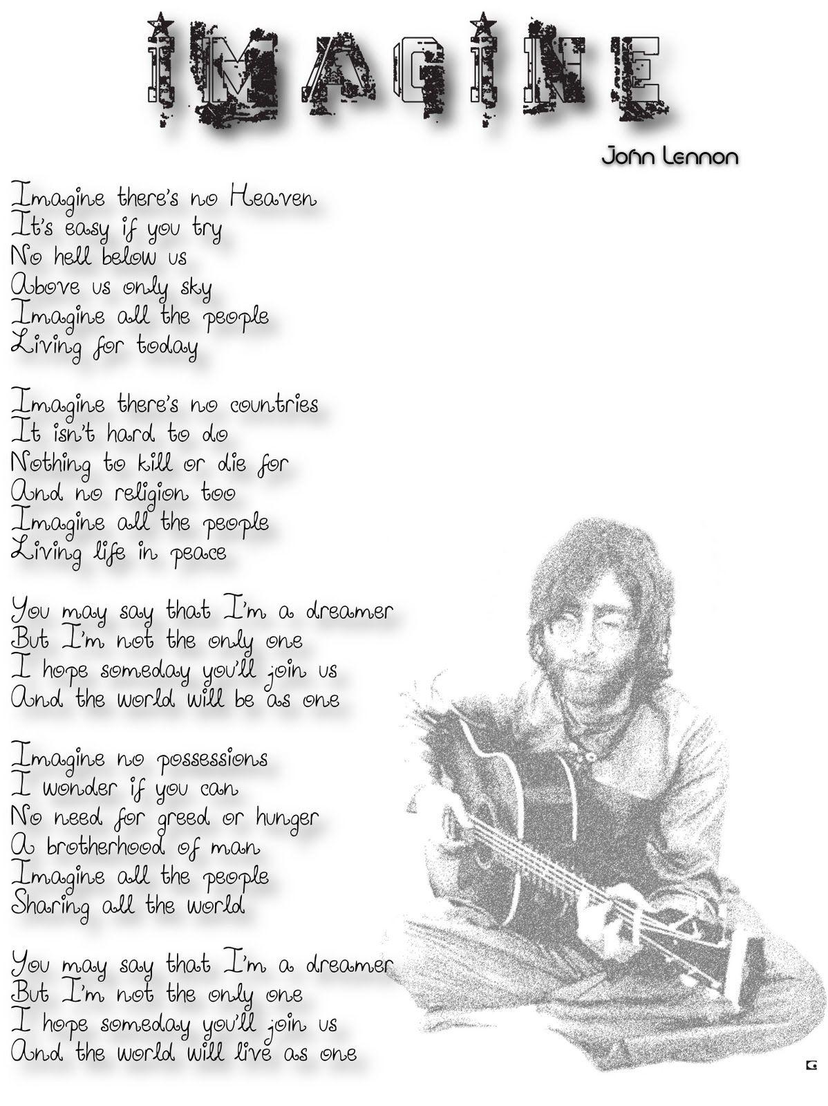 John Lennon S Imagine Liedteksten Songteksten Liedjes