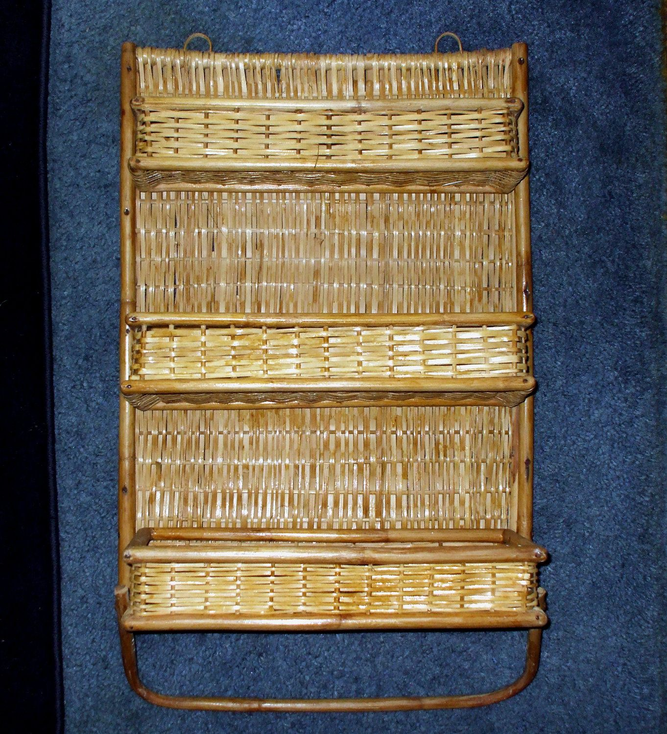 Kitchen Towel Rack Wicker Bamboo Wall Shelf Rattan Three Folding Shelves Hanging