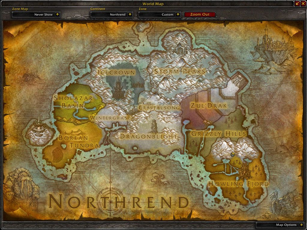 map of Northrend, the northern continent of Azeroth