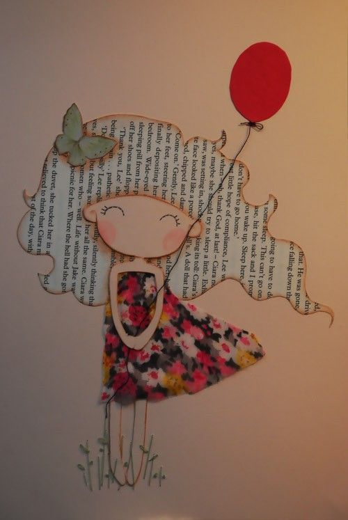 Girl with red balloon Original mixed media illustration  Girl with red balloon Original mixed media by lazydoll on Etsy