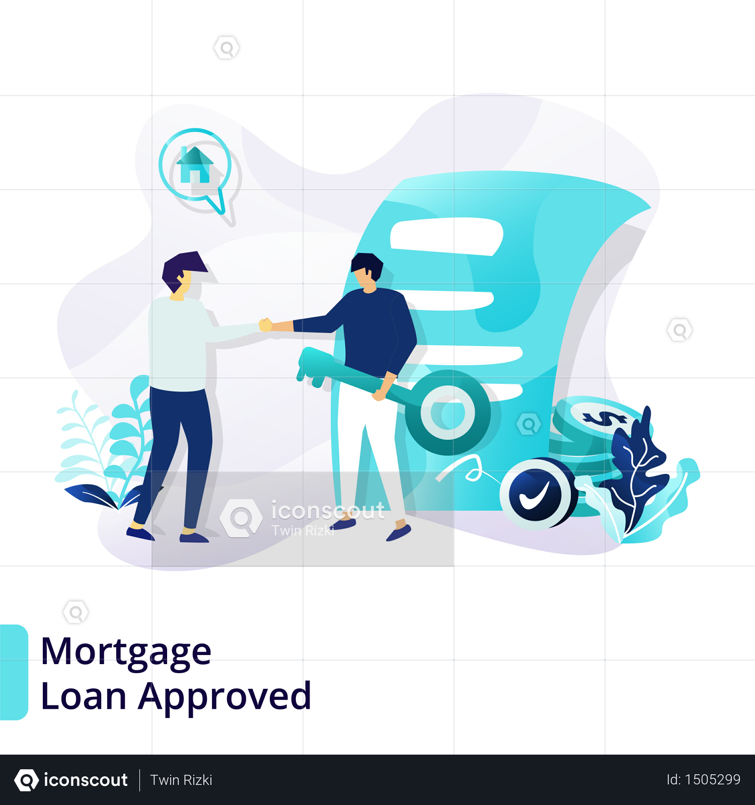 Premium Landing Page Template Of Mortgage Loan Approved Illustration Download In Png Vector Format Mortgage Loans Mortgage Marketing Mortgage