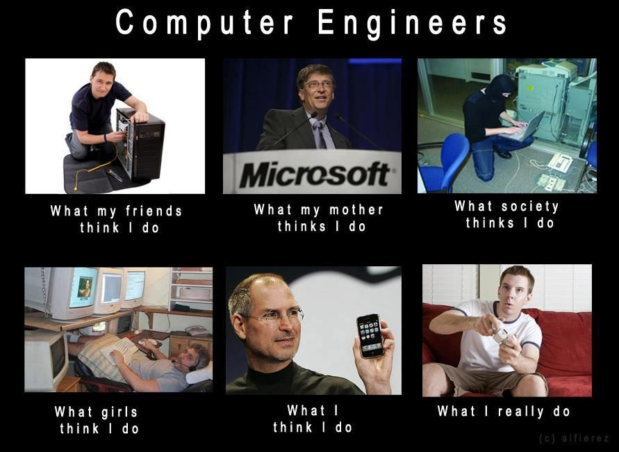 A solid meme on how Computer Engineers are viewed xD I
