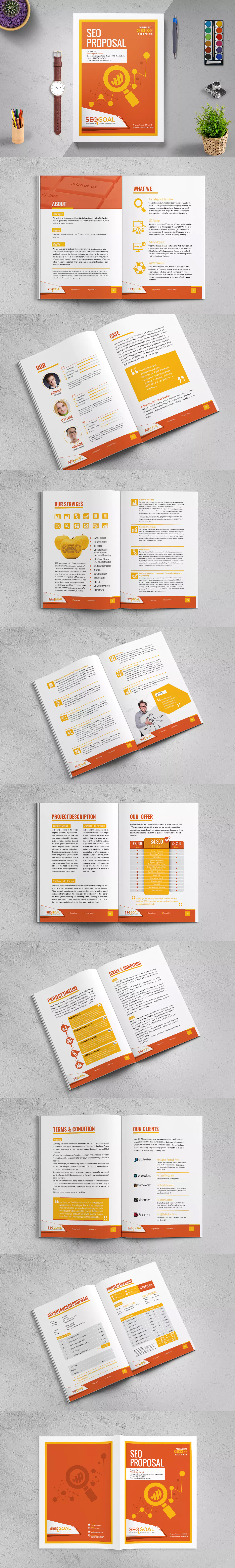 Seo Company Business  Project Proposal Brochure Template Indesign