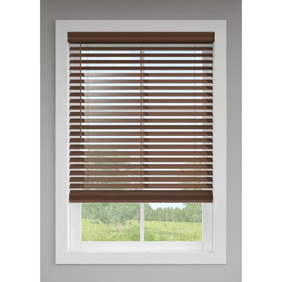 Levolor 2 5 In Cordless Walnut Room Darkening Faux Wood Blinds Common 35 In Actual 34 5 In X 72 In At Lowes Com Faux Wood Blinds Wood Blinds Faux Wood