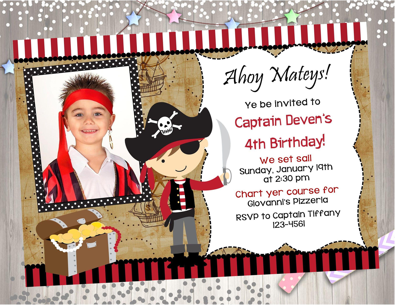 Pirate Birthday Party invitation invite Pirate invitation photo ...