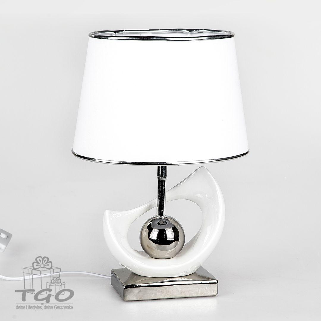 Formano Tischlampe Weiss Silber Hohe 40cm Lampe Tischlampen Lampen Kaufen