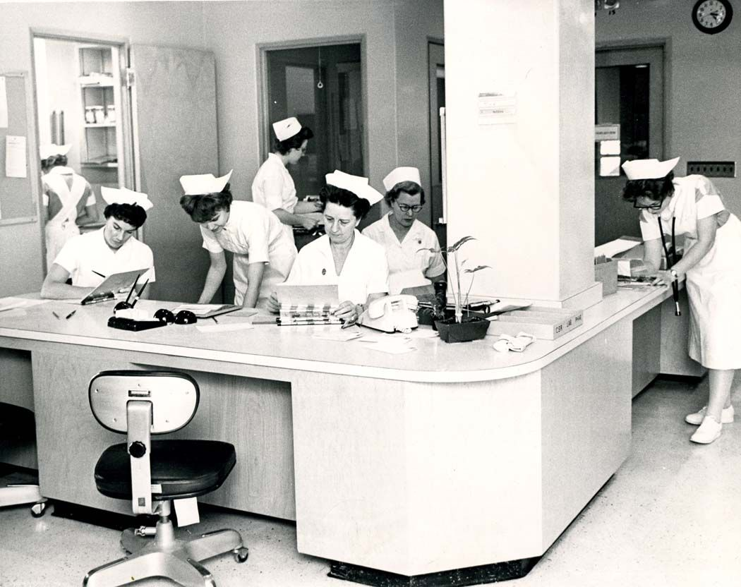 1960's Nurses Station for Delivery Rooms at the Hospital