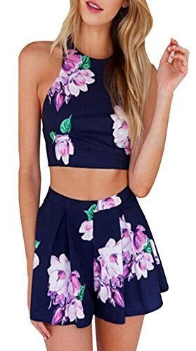 736c8b1cfd3 Creabygirls Women s Cute 2 Piece Outfit Floral Dresses Set Crop Top + High  Waist Pant