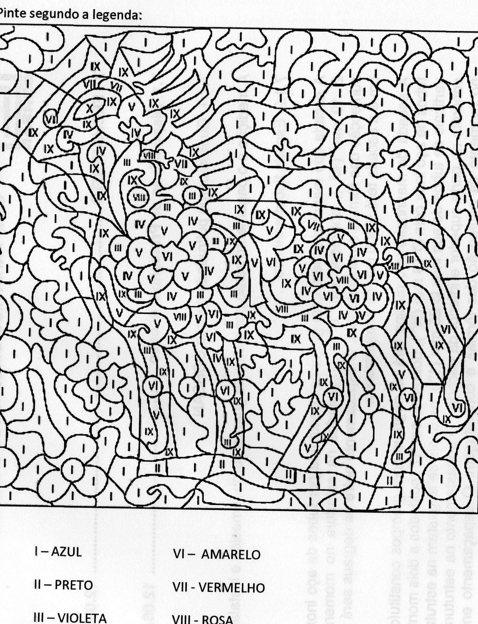 Numeros Romanos Pintar Por Numero Colorear Por Numeros Dibujo
