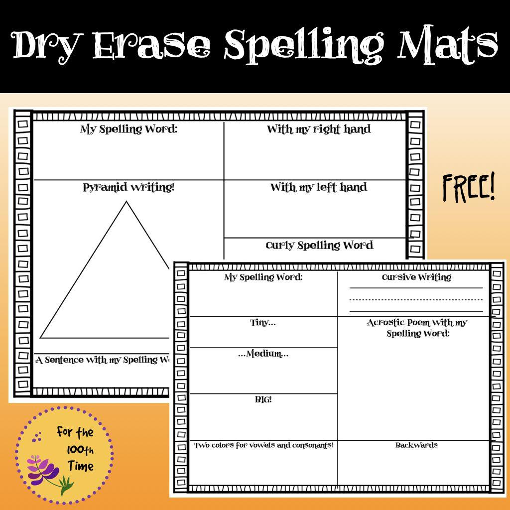 Dry Erase Spelling Mats For Any Spelling Word Ela Center