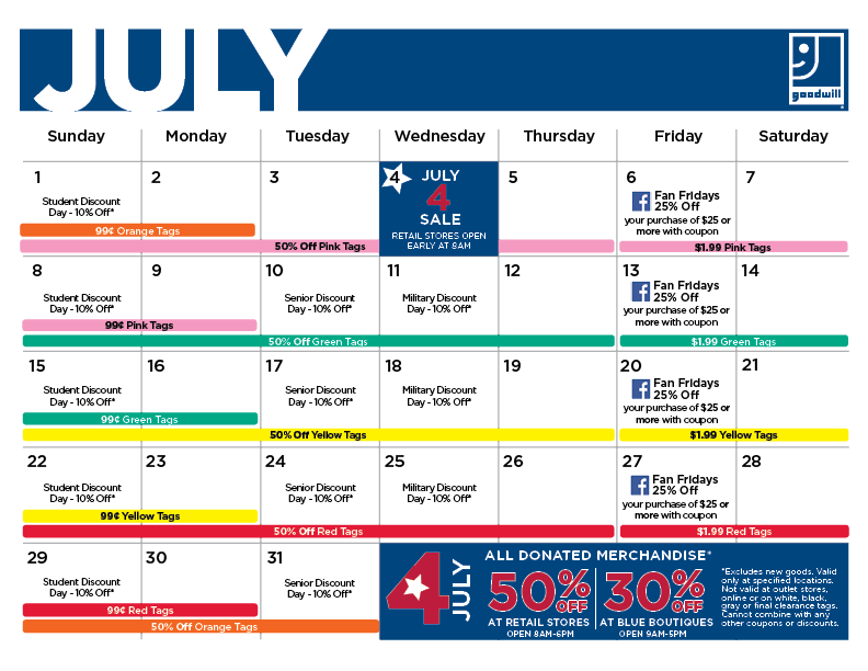 Find Goodwill S Weekly Tag Sale Calendar Here Now Find Sales Events