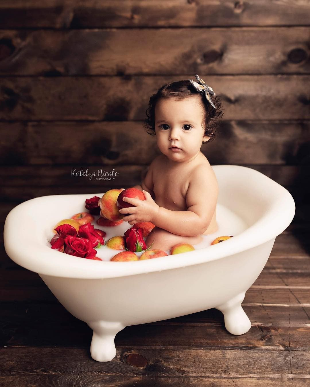 Baby girl bath photo shoot with apples and roses Baby