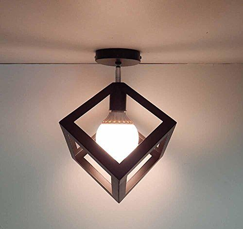 KHSKX Creative Personality Retro Dining Room Chandelier Wrought Iron Wind Industry Square Triangular Living Lighting