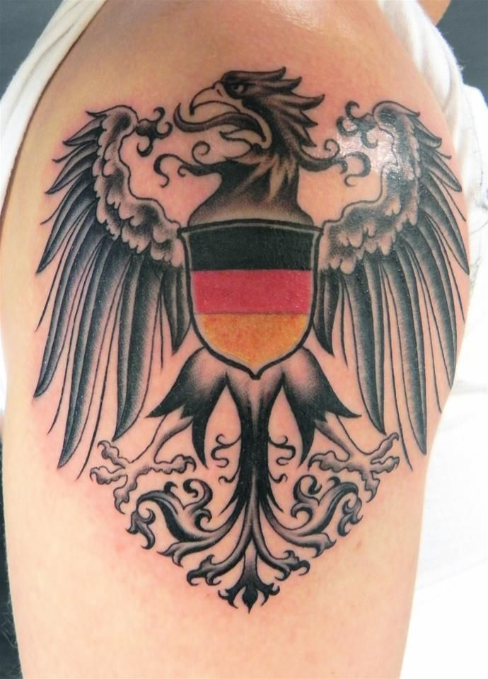 German Eagle And Flag Right Shoulder German Tattoo Eagle Tattoos Germany Tattoo