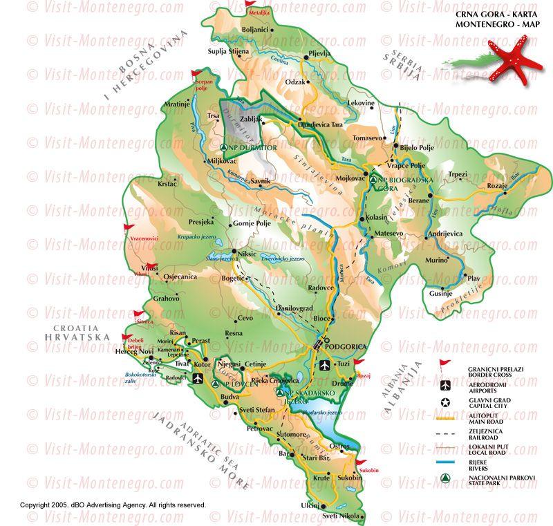 Montenegro Map Touriste Voyage