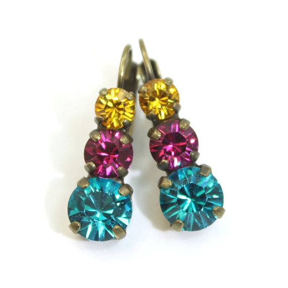 Fuchsia Teal Green Yellow Blue Hot Pink  Multicolored by TIMATIBO, $24.00