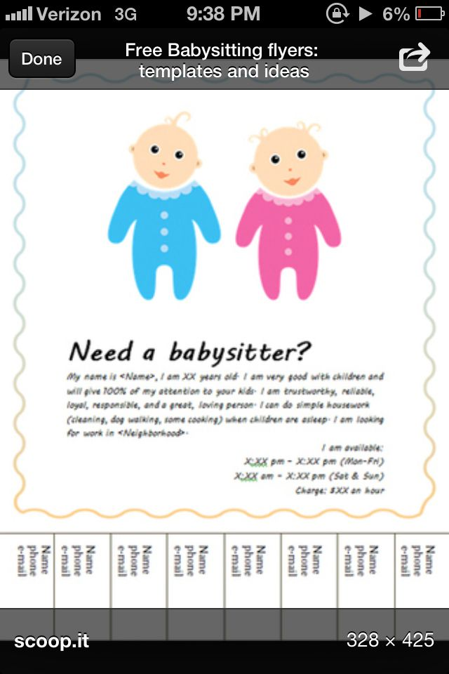 Babysitting Flyer Template Babysiting Pinterest Flyer Template