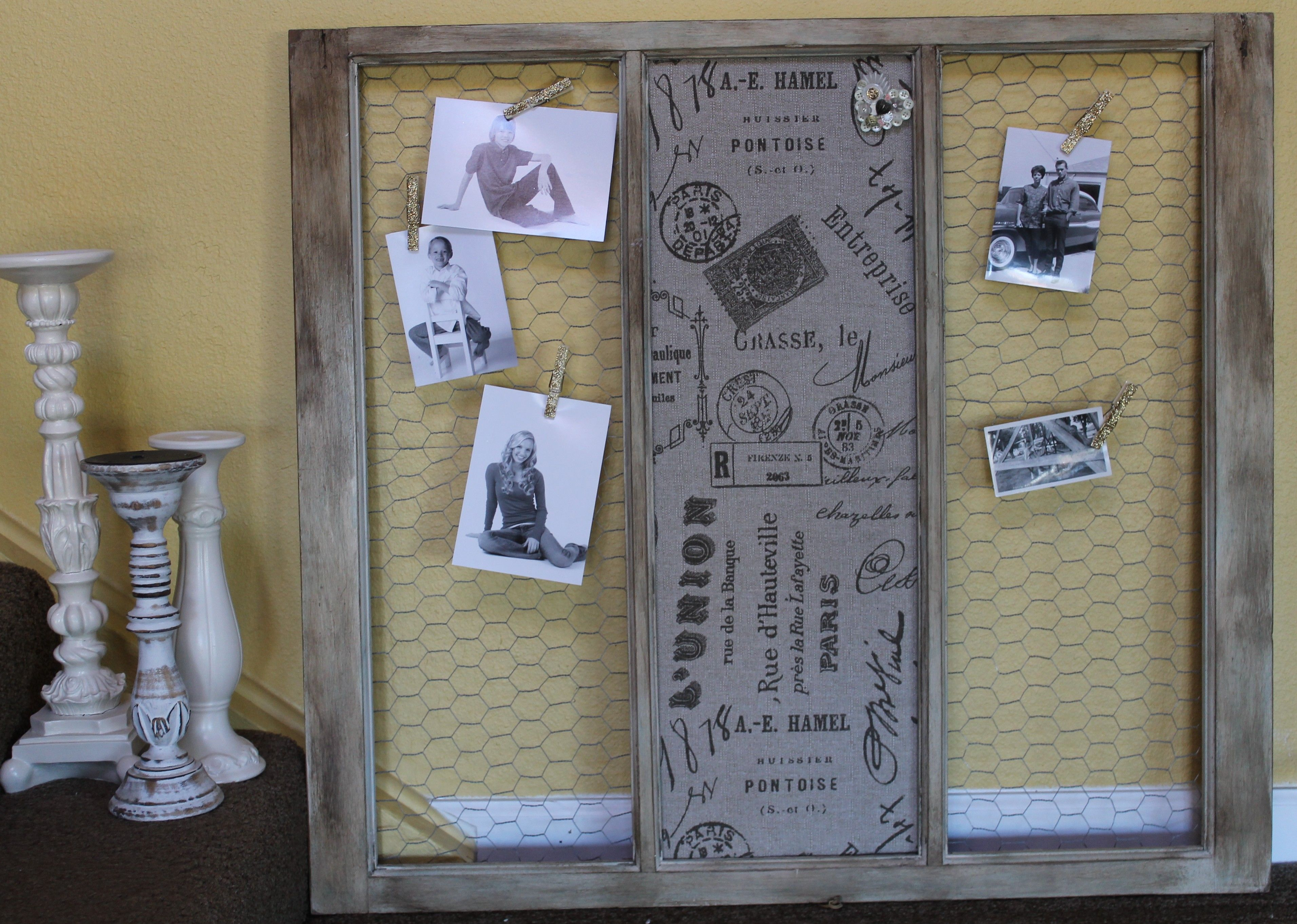 old window frame, cork board, burlap, paint and come chicken wire ...
