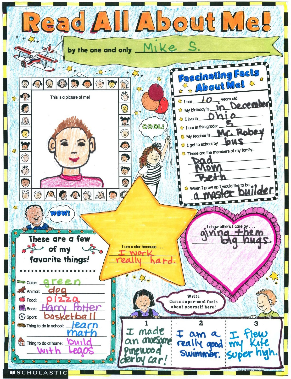 Read All About Me Poster Classroom Worksheet